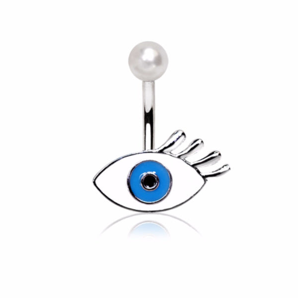 316L Stainless Eyelash Evil Blue Eye Navel Ring-WildKlass Jewelry
