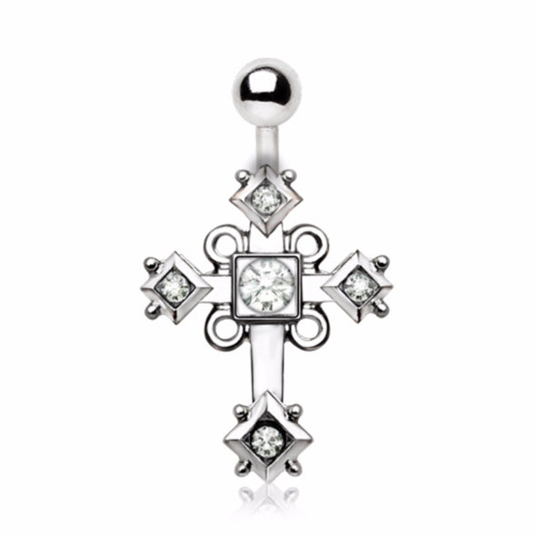 316L Stainless Steel Sparkling Budded Cross Navel Ring-WildKlass Jewelry