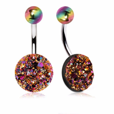 316L Stainless Steel Rainbow Raw Crystal Navel Ring-WildKlass Jewelry