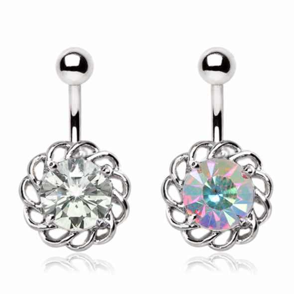316L Stainless Steel Sparkling Flower Navel Ring-WildKlass Jewelry