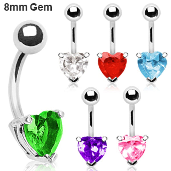 316L Surgical Steel Prong Set 8mm Heart CZ Navel Ring-WildKlass Jewelry