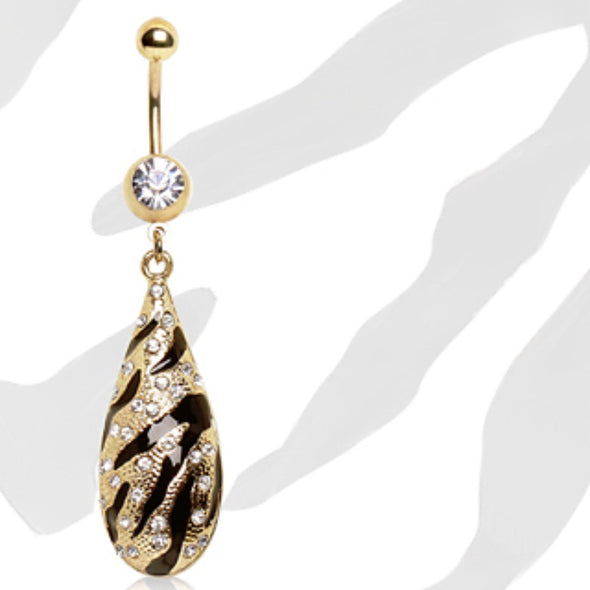 Gold Plated Navel Ring with Zebra Printed Water Drop Dangle-WildKlass Jewelry