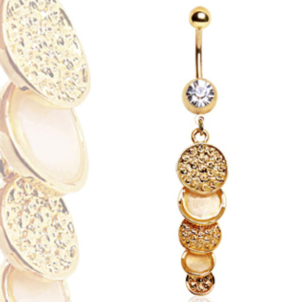 Gold Plated Cascading Discs Navel Ring-WildKlass Jewelry