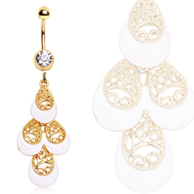 Gold Plated White & Gold Multi-Tiered Tear Drop Navel Ring-WildKlass Jewelry