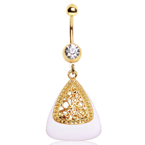 Gold Plated White & Gold Triangle Navel Ring-WildKlass Jewelry