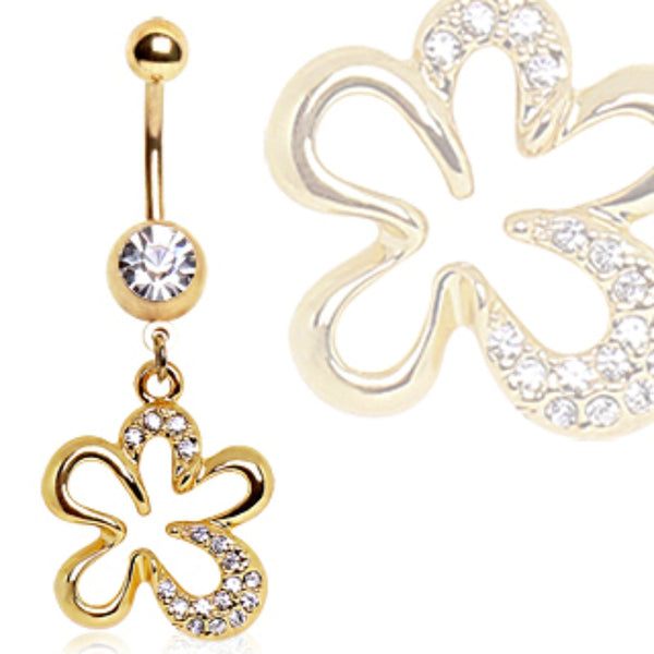 Gold Plated CZ Flower Navel Ring-WildKlass Jewelry
