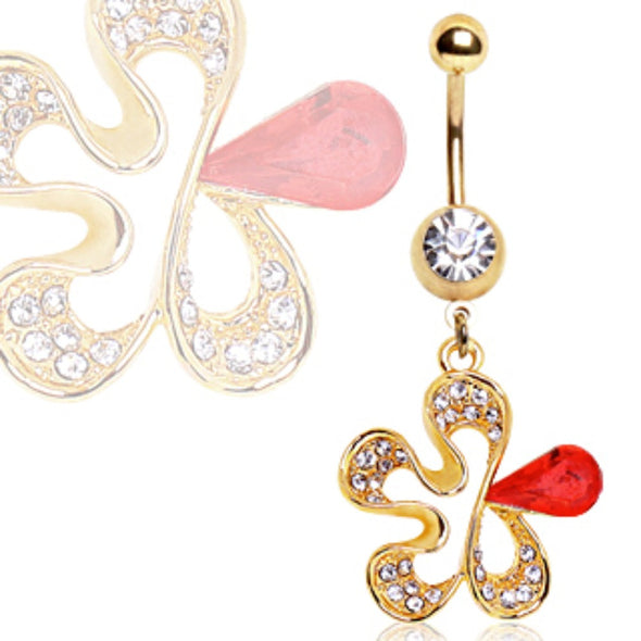 Gold Plated Red CZ Flower Navel Ring-WildKlass Jewelry