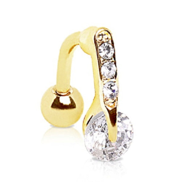Gold Plated Top Down Round CZ Navel Ring-WildKlass Jewelry