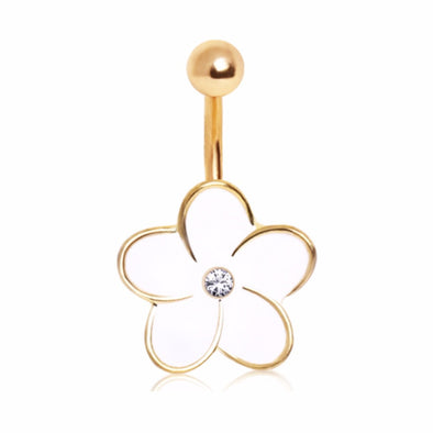 316L Enameled Flower Navel Ring with Center Gem and Gold Plated Trim-WildKlass Jewelry