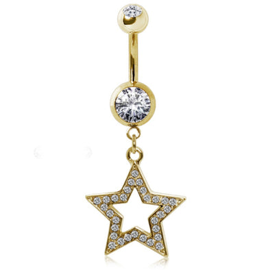 Gold-Plated 316L Surgical Steel Gemmed Star Navel Ring-WildKlass Jewelry