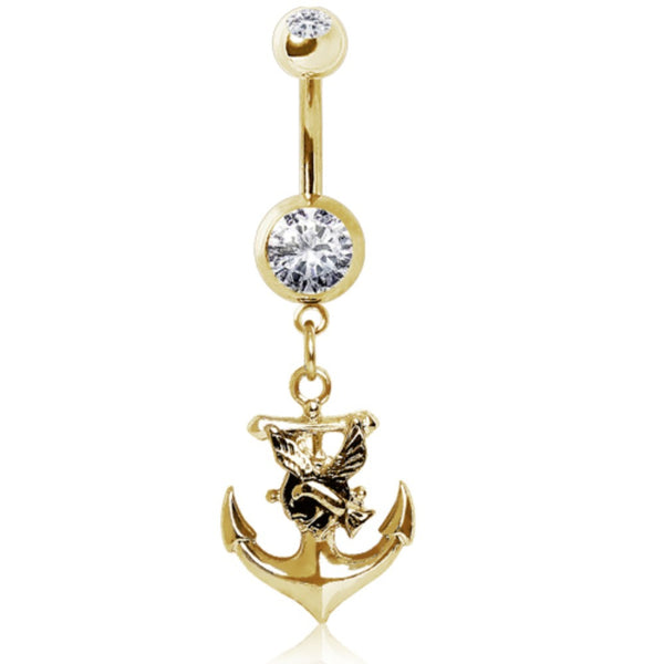 Gold Plated 316L Gemmed Navel Ring with Anchor and Seagull Dangle-WildKlass Jewelry