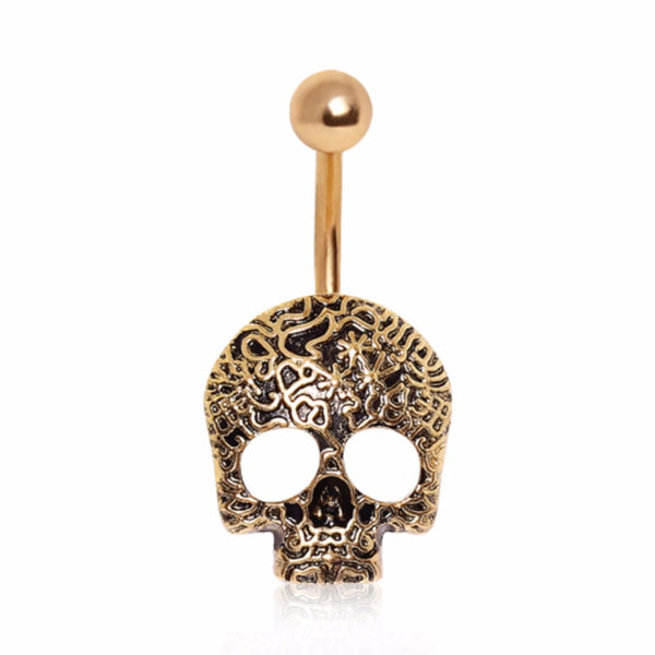 Gold Plated Vine Skull Navel Ring-WildKlass Jewelry