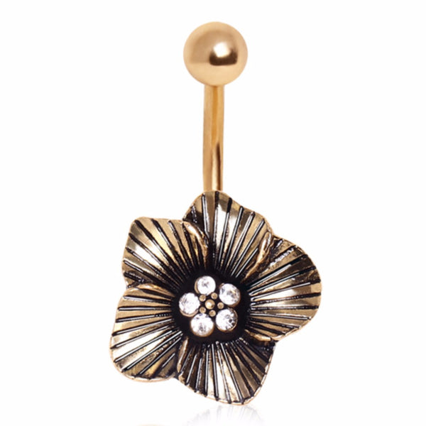 Gold Plated Striped Floral Navel Ring with CZ-WildKlass Jewelry