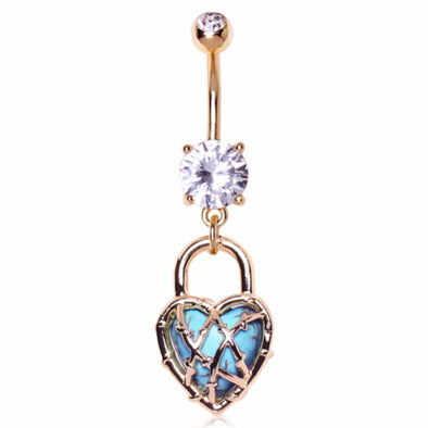 Gold Plated CZ Locked Turquoise Heart Dangle Navel Ring-WildKlass Jewelry