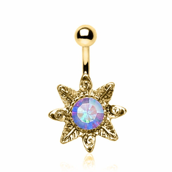 Gold Plated Aurora Borealis Wild Flower Navel Ring-WildKlass Jewelry