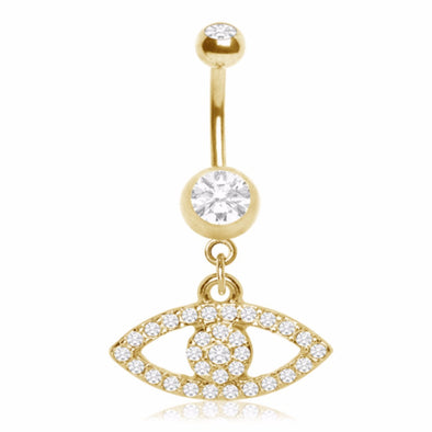 Gold Plated Multi-CZ Seeing Eye Navel Ring-WildKlass Jewelry