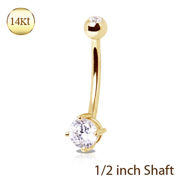 14Kt Yellow Gold 12mm Navel Ring with Clear Round Prong Set CZ-WildKlass Jewelry