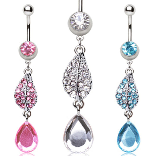 316L Surgical Steel Navel Ring with Two Tear Water Drop Shaped Dangle-WildKlass Jewelry