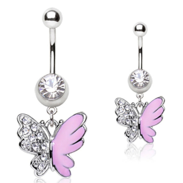316L Surgical Steel Navel Ring with Two Tone Butterfly Shaped Dangle-WildKlass Jewelry