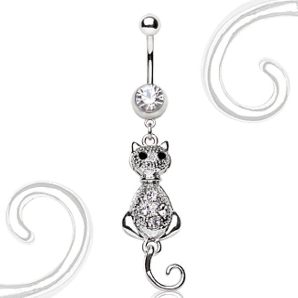 316L Surgical Steel Navel Ring with Cat Dangle-WildKlass Jewelry
