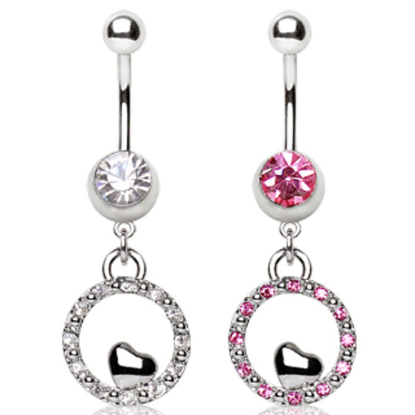 316L Surgical Steel Navel Ring with Bubble and Small Heart Shaped Dangle-WildKlass Jewelry