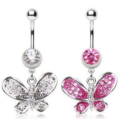 316L Surgical Steel Navel Ring with Butterfly Shaped Dangle-WildKlass Jewelry