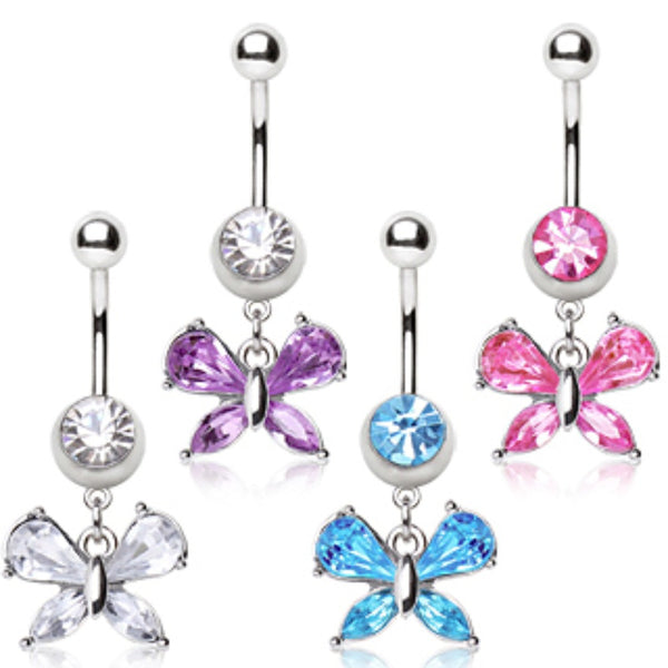 316L Surgical Steel Navel Ring with Small Butterfly Shaped Dangle-WildKlass Jewelry