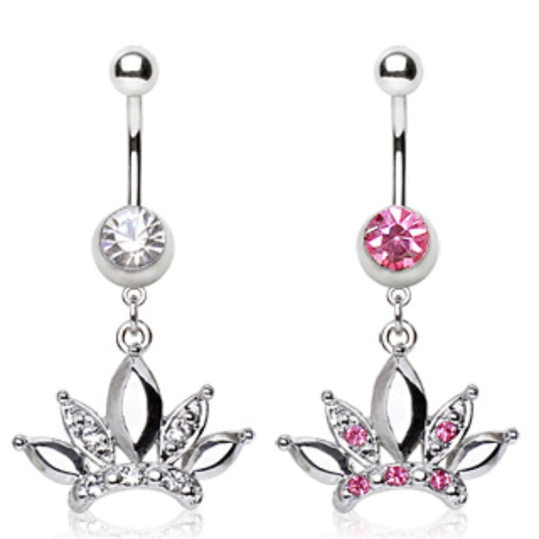 316L Surgical Steel Navel Ring with Diva Crown Shaped Dangle-WildKlass Jewelry