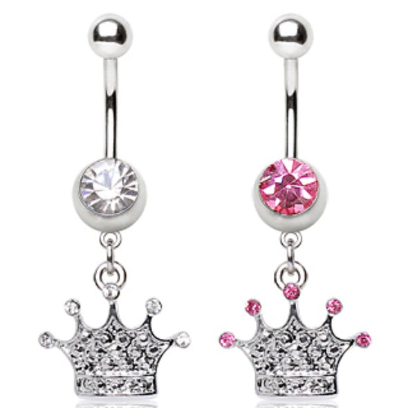 316L Surgical Steel Navel Ring with Princess Crown Dangle Royal-WildKlass Jewelry