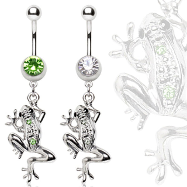 "316L Surgical Steel Navel Ring with ""Glass Frog"" Dangle-WildKlass Jewelry"