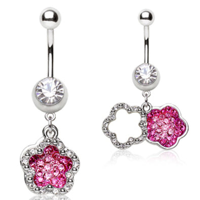 316L Surgical Steel Navel Ring with Two Flower Shaped Dangles-WildKlass Jewelry
