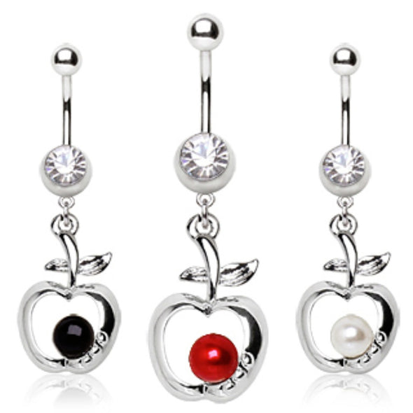 316L Surgical Steel Navel Ring with Apple Dangle-WildKlass Jewelry