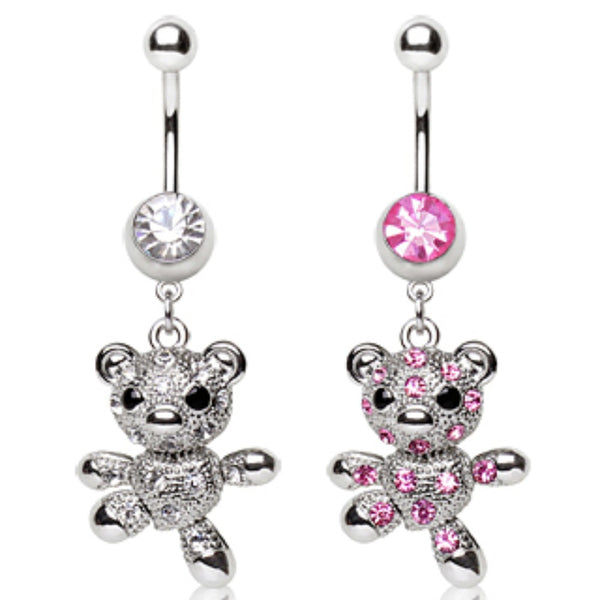 316L Surgical Steel Navel Ring with Dancing Teddy Bear Dangle-WildKlass Jewelry