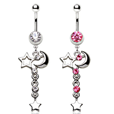 316L Surgical Steel Navel Ring with Moon and Stars Dangle-WildKlass Jewelry