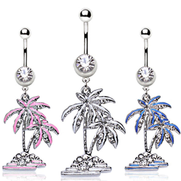 316L Surgical Steel Coconut Trees Dangle Navel Ring-WildKlass Jewelry