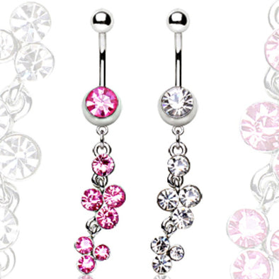316L Surgical Steel Navel Ring with Cascading Multi Gem Dangle-WildKlass Jewelry
