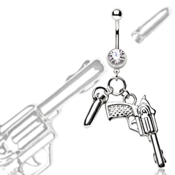 316L Surgical Steel Navel Ring Pistol and Bullet Dangle-WildKlass Jewelry