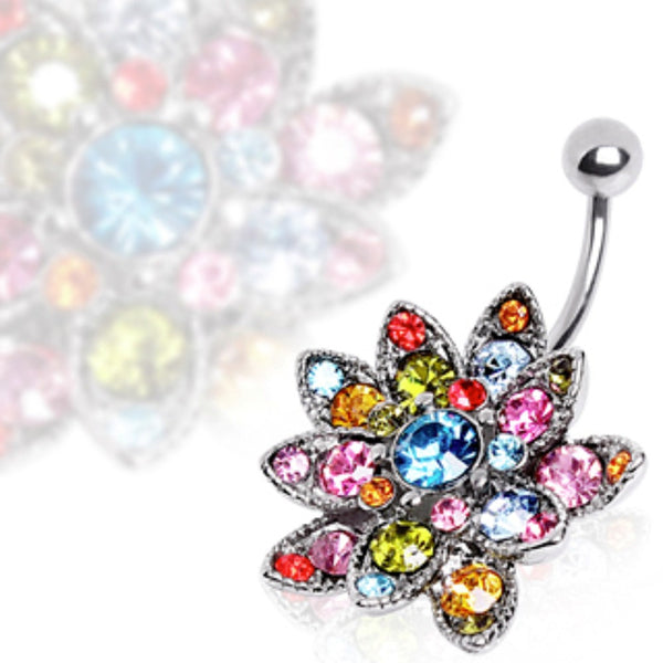 316L Surgical Steel Hinged Navel Ring with Multi Gem Lotus Flower-WildKlass Jewelry