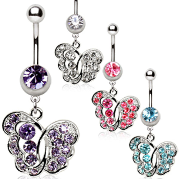 316L Surgical Steel Navel Ring with Fancy Butterfly-WildKlass Jewelry