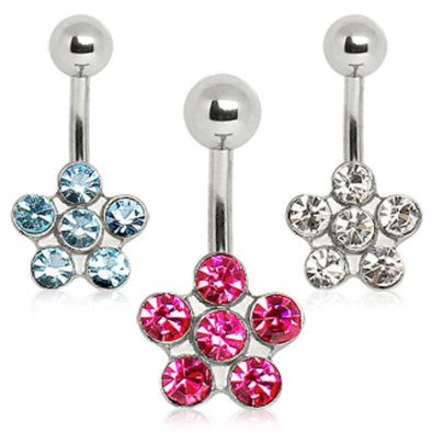 316L Surgical Steel Navel Ring with Daisy Flower-WildKlass Jewelry