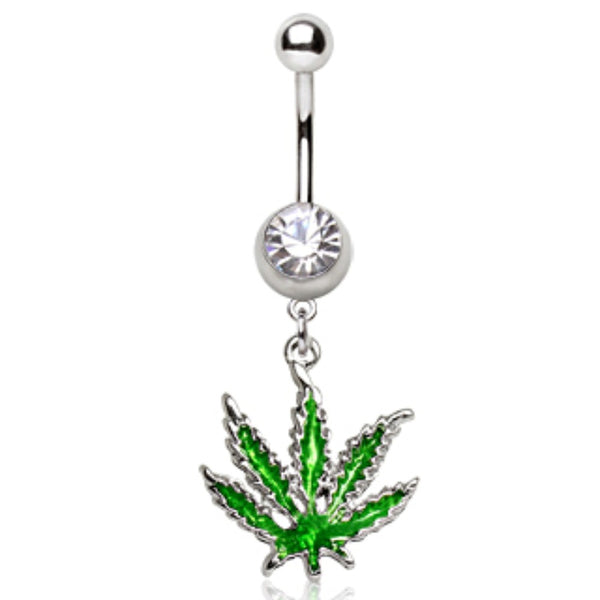 316L Surgical Steel Pot Leaf Dangle Navel Ring-WildKlass Jewelry