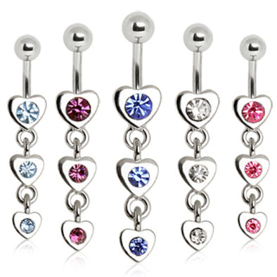 316L Surgical Steel Navel Ring with Three Tier Drop Hearts-WildKlass Jewelry
