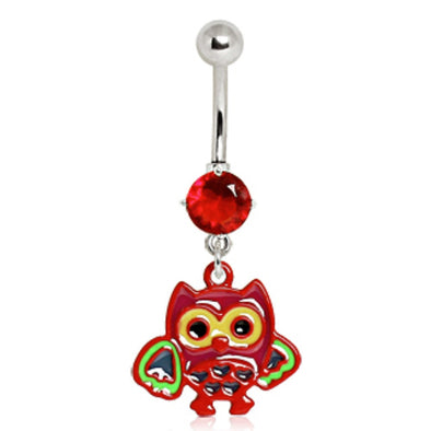 316L Surgical Steel Red Owl Navel Ring-WildKlass Jewelry