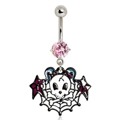 316L Surgical Steel Sugar Skull on Spider Web Navel Ring-WildKlass Jewelry