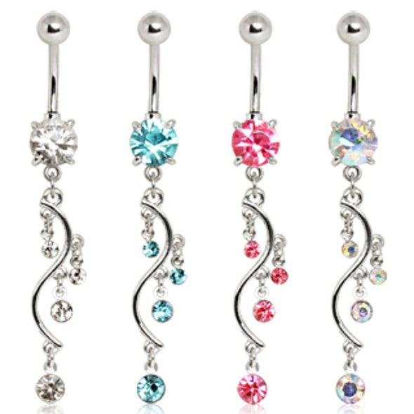 316L Surgical Steel Prong Set Navel with Vine Dangle-WildKlass Jewelry