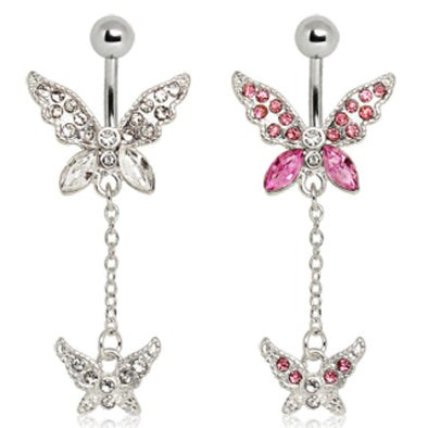 316L Surgical Steel Double-Tier Butterfly Navel Ring-WildKlass Jewelry