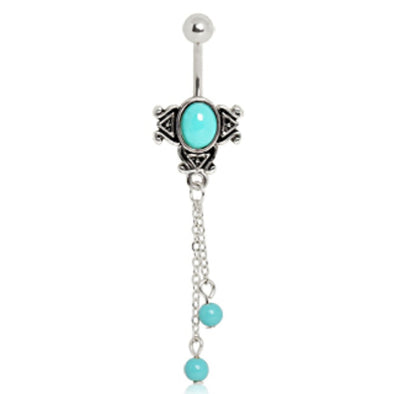 316L Surgical Steel Vintage Aqua Charm Navel Ring-WildKlass Jewelry