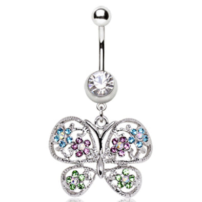 316L Surgical Steel Fancy Butterfly Navel Ring-WildKlass Jewelry
