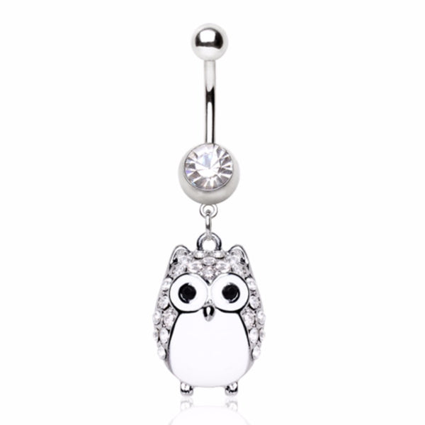 316L Surgical Steel White Owl Navel Ring-WildKlass Jewelry