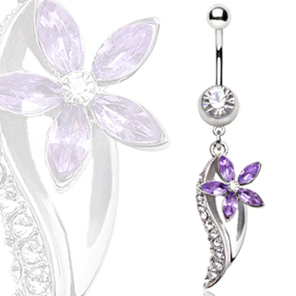 316L Surgical Steel Flower & Leaf Navel Ring-WildKlass Jewelry
